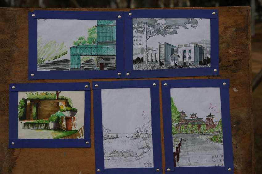 园林景观设计硬笔手绘效果图,园林景观设计马克笔手绘效果图以及园林
